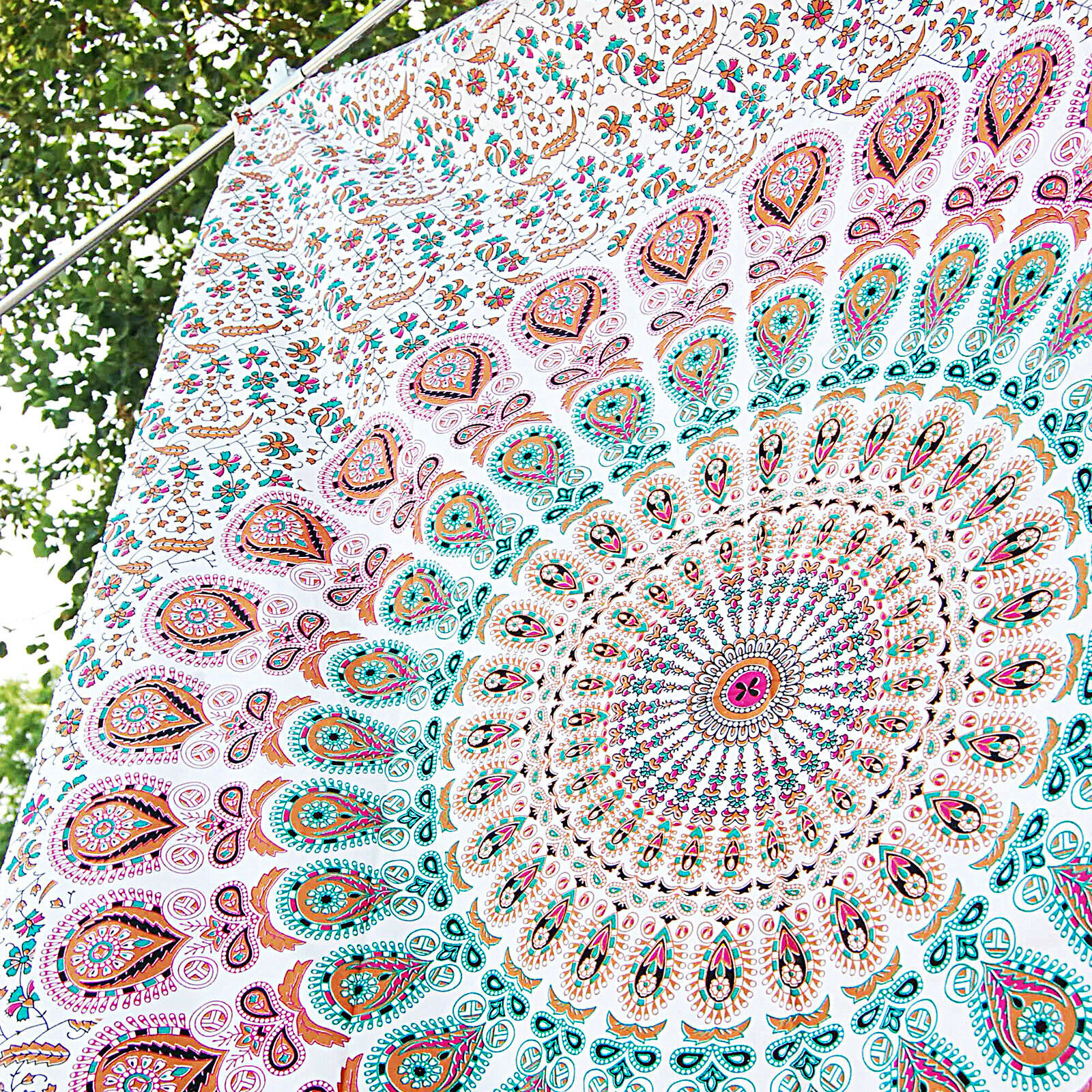 White Peacock Mandala Tapestry Twin Bedspread Bohemian