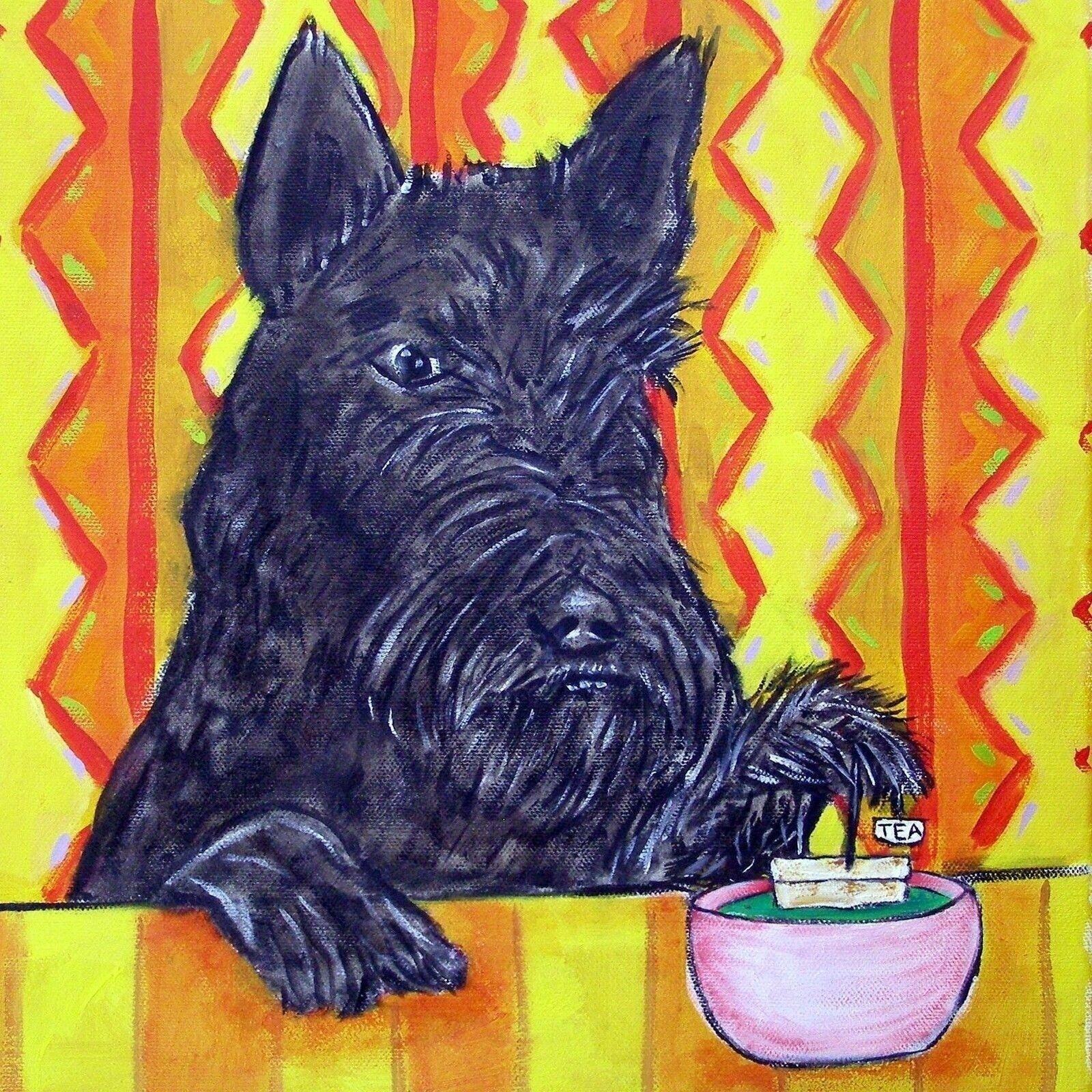 Scottish terrier dog pet salon PRINT on ceramic TILE coaster gift JSCHMETZ