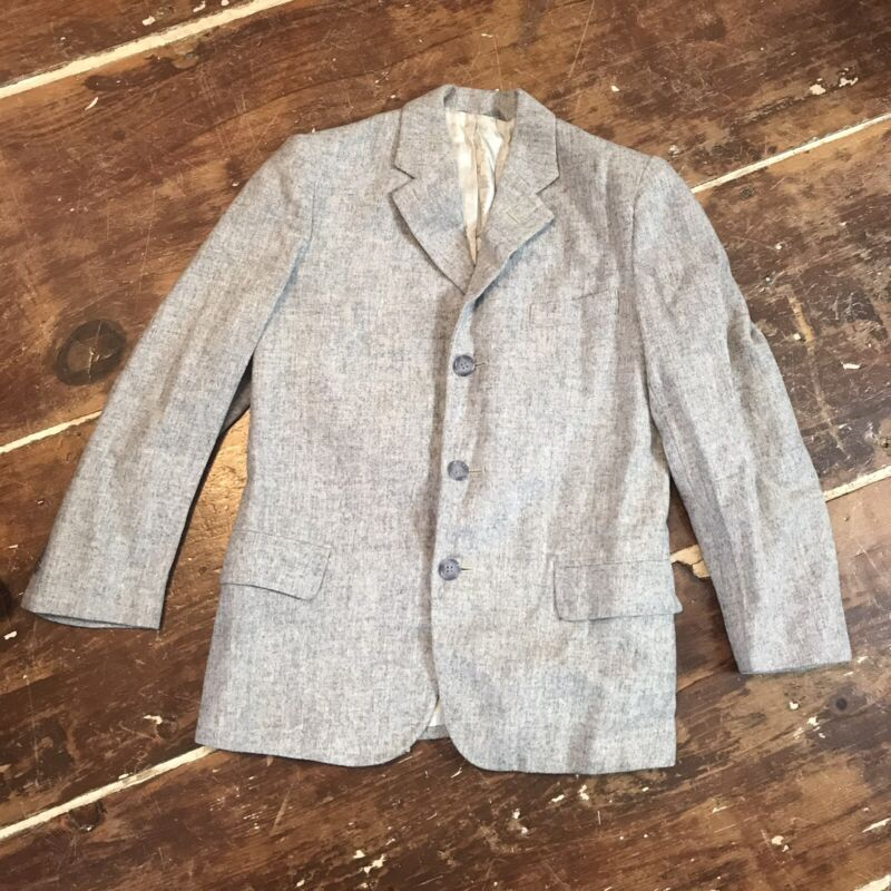 Vintage 50s Wool Sportcoat Suit Jacket Boys 7/8 Robert Hall Gray Three Button