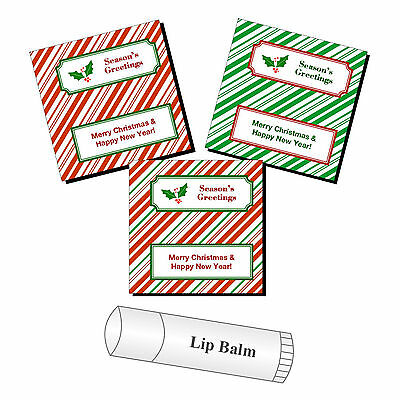 Lip Balm Labels - 20 Personalized Christmas Lip Balm Party Favor Stickers Labels Candy Canes