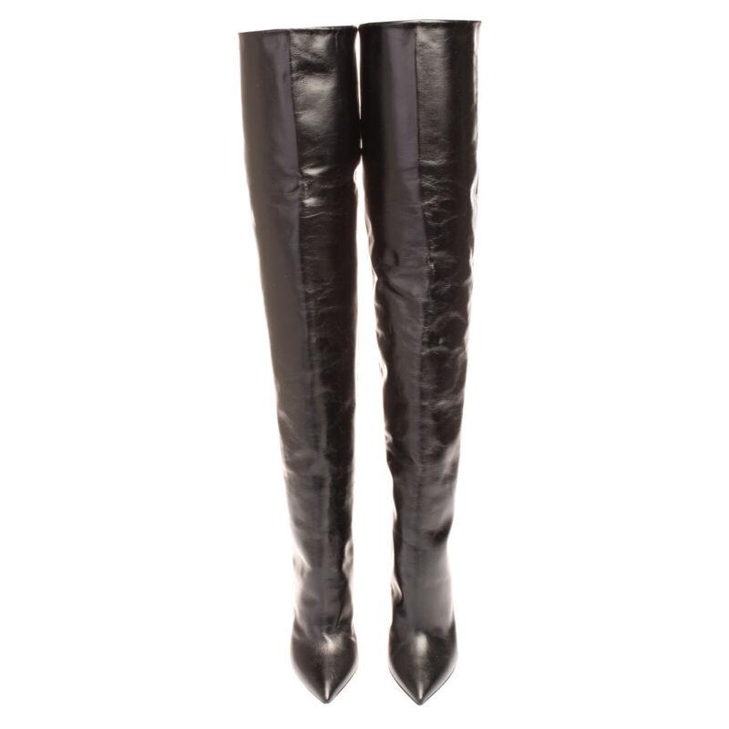 RRP €1460 SAINT LAURENT Leather Over Knee Boots Size 39 UK 6 US 9 Cone Heel