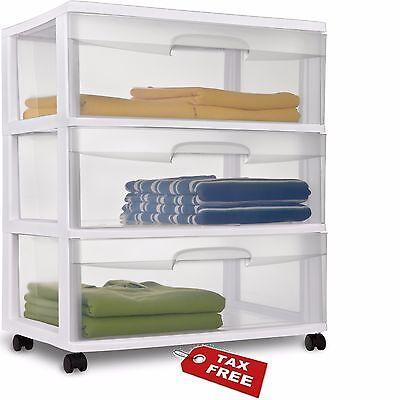 3 Drawer Sterilite Wide Plastic Storage Cabinet Rolling Cart Organizer Box