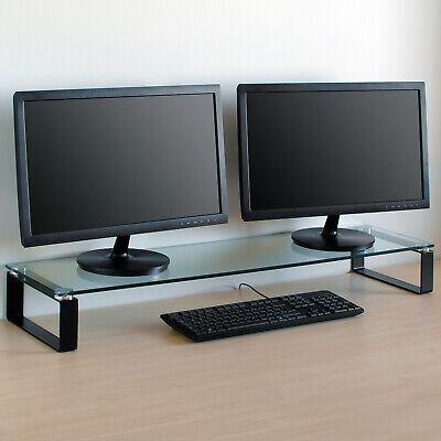 X Large Double Monitor Riser Stand PC/iMac Screen TV Display Shelf Clear/Black