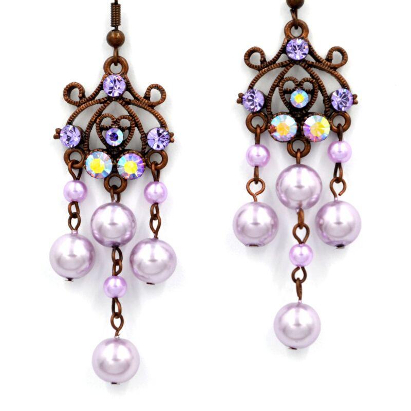 Swarovski Elements Crystal Amethyst Violet Pearl Chandelier Dangle Earrings Gift