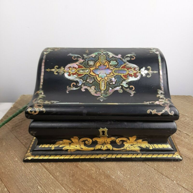 Antique Victorian Era Papier Macher stationary box Mother of pearl chest