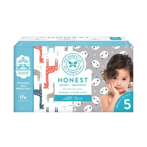 Honest Company Box Diapers w/TrueAbsorb Technology, Rose Blossom size 5, 50ct