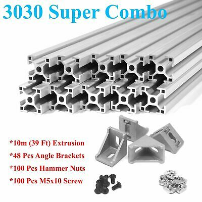 3030 T-slot 30mm Aluminum Extrusion Kit 10x 1m  Angle Brackets Screws Nuts
