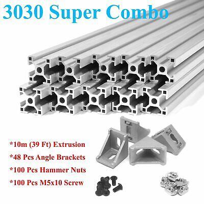 3030 T-slot 30mm Aluminum Extrusion Kit 10x 1m  Angle Brackets Screws Nuts