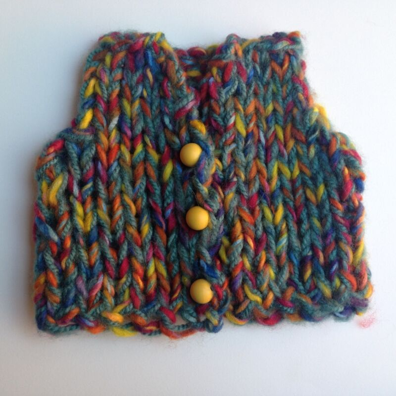 FREE SHIPPING!  HAND KNIT LITTLE MULTICOLOR BABY