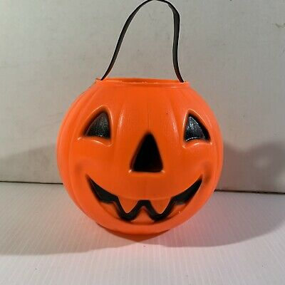 Vtg Carolina Enterprise Halloween Blow Mold Pumpkin Candy Bucket Jack-O-LANTERN