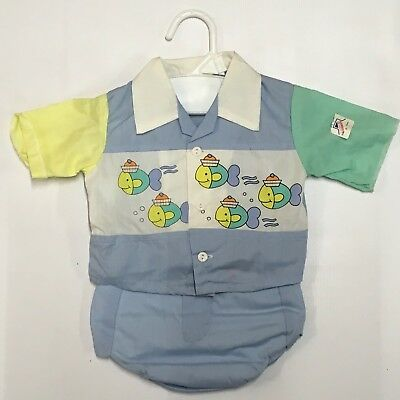 Catton Candy Baby Boy 0-6ms 2 Pc Fish Swimming Outfit Vintage