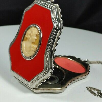 1930s Handbags and Purses Fashion Vtg 1930s EAM Guilloche Rouge Powder Dance Compact Purse Coral Enamel w Cameo $91.81 AT vintagedancer.com