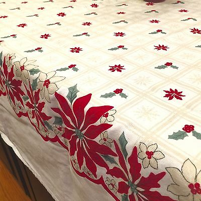 "VIntage Martha Stewart Christmas Holiday Tablecloth Poinsettias 62"" X 94"""