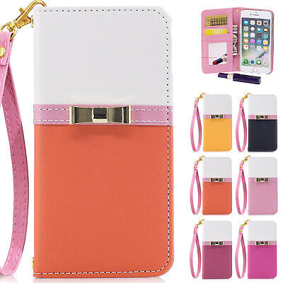 For iPhone XS XR 8/7/6 Girl's Bowknot Mirror Leather Wallet Magnetic Flip Stand