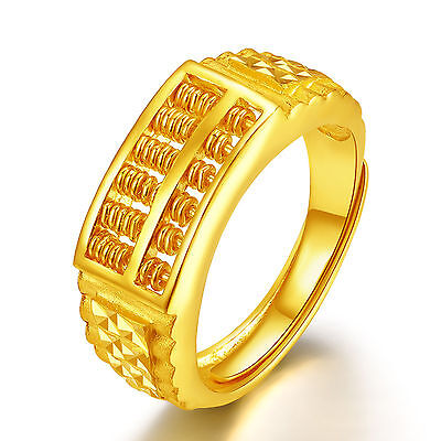 Pure 999 24K  Yellow Gold Ring / Best Gift Men Fashion Abacus  Ring / 8.7g