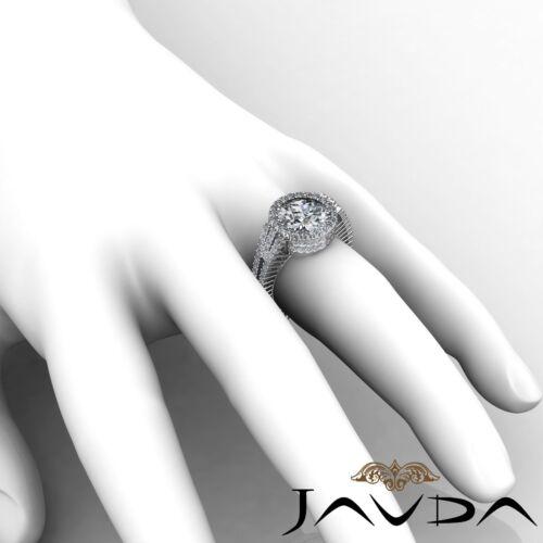 3.5ct Round Cut Diamond Halo Prong Set Engagement Ring GIA F VS2 14k White Gold 5