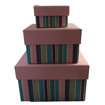 Hallmark Gift Nested Boxes Storage Box Pink 3 piece Set Nesting Party Wrap