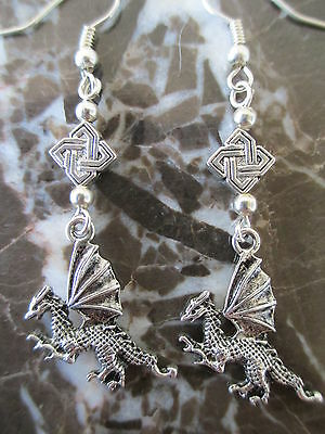Gothic Emo Silver Dragon & Celtic Knot Artisan Handcrafted Earrings-Wicca (Dragon Knot Earrings)