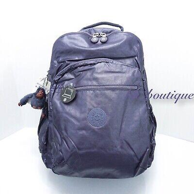 NWT Kipling BP4371 Seoul XL Backpack Laptop Travel Bag Enchanted Purple Metallic