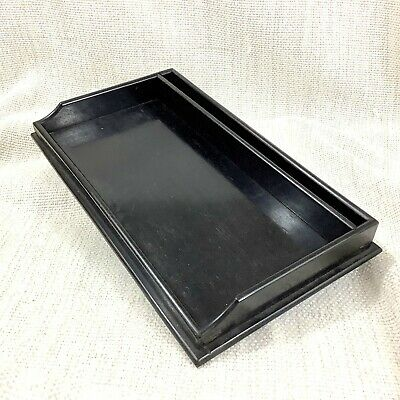 Antique Victorian Desk Tray Tidy Ebony Wood Dressing Vintage Vanity Table Stand