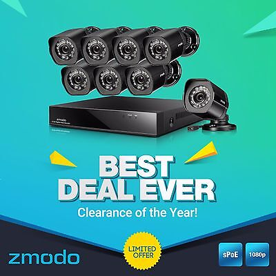 Zmodo 8CH 1080p NVR PoE System 2MP HD IP Netwrok Security Surveillance Camera