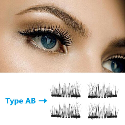 Купить Single/Double/Three Magnetic 3D False Eyelashes 4pcs Long Natural Eye Lashes US