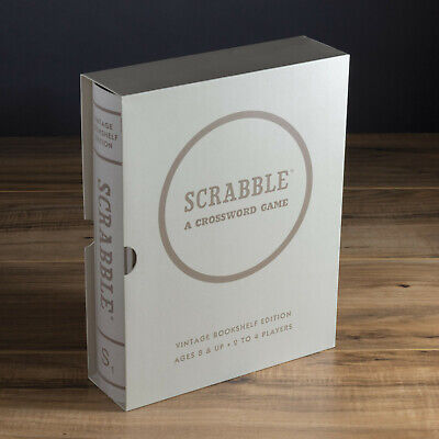 Scrabble Vintage Bookshelf Edition Collectible Deluxe Linen Book Board Game New Vintage Book Game