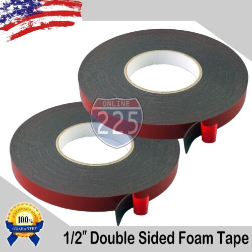 "2 Rolls 1/2"" Wide Double Sided acrylic Foam High Strength Adhesive Tape 60 Foot"