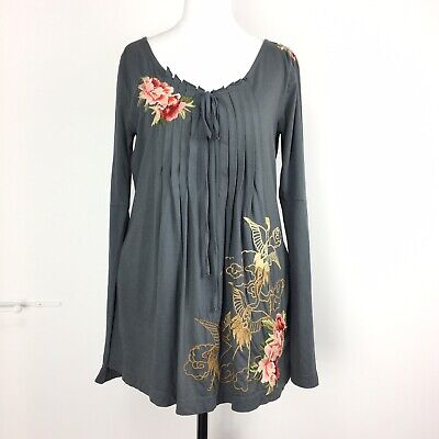 Johnny Was JWLA Los Angeles Grey Longline Top Embroidered Pin Tuck Bell Sleeve S