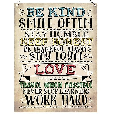 Be Kind Smile Often Love Work Hard Inspirational Quote Gift Metal Sign 15x20cm