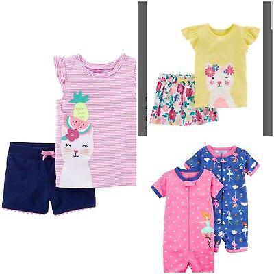NWT Carter's Baby Girls Short, Skirt, Romper - Kitty Cat / Ballerina Pattern