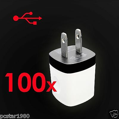 100x 1A USB AC Immure Charger Power Home Adapter Plug ForiPhone Samsung HTC