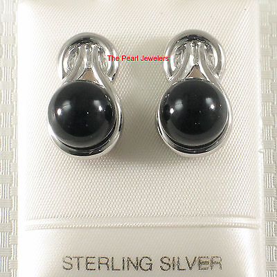 Solid Sterling Silver 925 Love Knot Rhodium Finish; Black Onyx Stud Earrings -