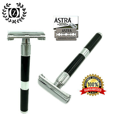 LONG HANDLE DOUBLE EDGE BUTTERFLY OPENING SAFETY RAZOR + FREE BLADES BLACK