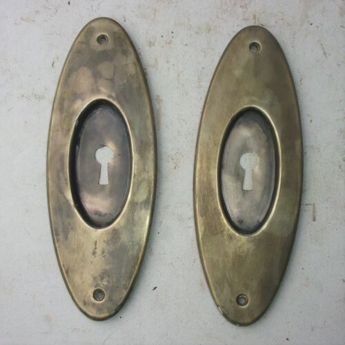 Pair Antique Pocket Door Plate Backplate Handle Key Hole Reclaimed Salvage