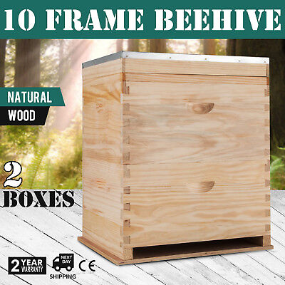 Not Assembled Double Beehive With 2 Assembled Frame Boxes And Stainless Excluder