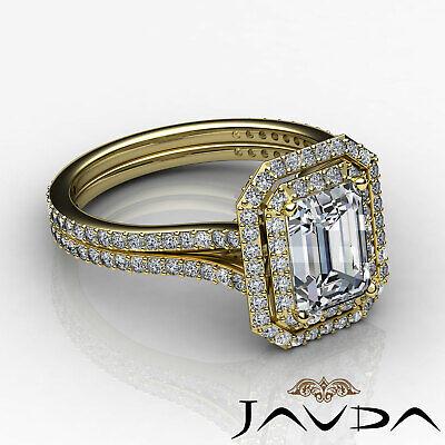 Double Halo Pave Split Shank Emerald Diamond Engagement Ring GIA H VS2 2.6 Ct 8