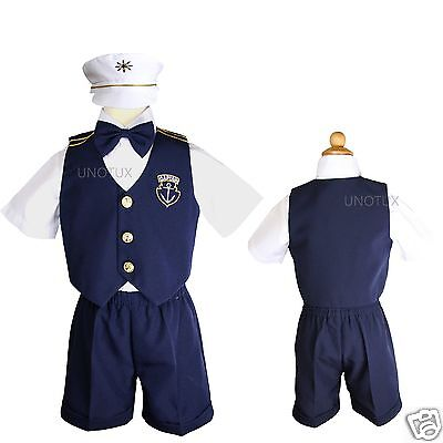 New Infant Baby Toddler Navy/white Sailor Formal Suit + hat Outfits New Born-3T - Toddler Sailor Suit