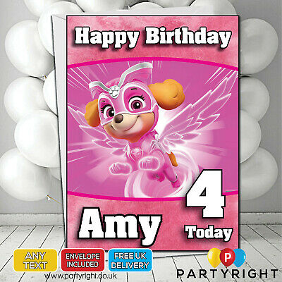 Personalised Paw Patrol Mighty Pups Skye Kids Birthday Card • Your Name/Age](Paw Patrol Puppy Names)