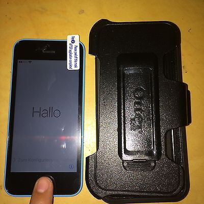 Iphone 5C Blue 8Gb Apple Vodafone Uk Icloud Email Activated W  Otterbox Defender
