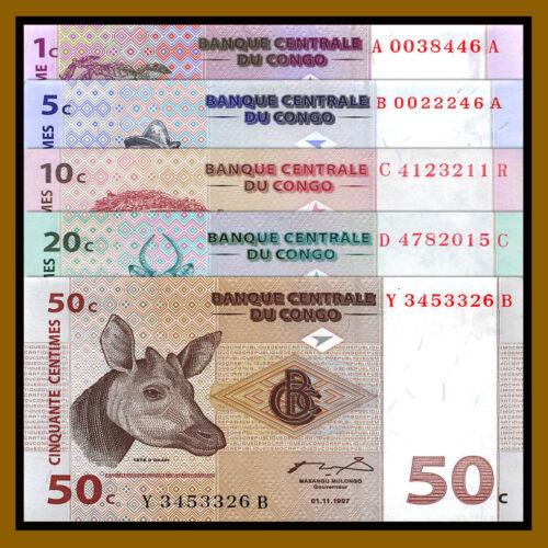 Congo Democratic Republic 1-50 Centimes (5 Pcs Set), 1997 P.80/81/82/83/84A Unc