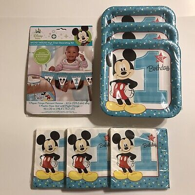Disney Baby Mickey Mouse First Birthday Plates Napkins & High Chair Decorations