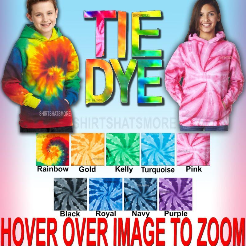 Youth Tie Dye Hooded Sweatshirt Kids Boys Girls Hoodie Child Hoody XS-XL NEW!