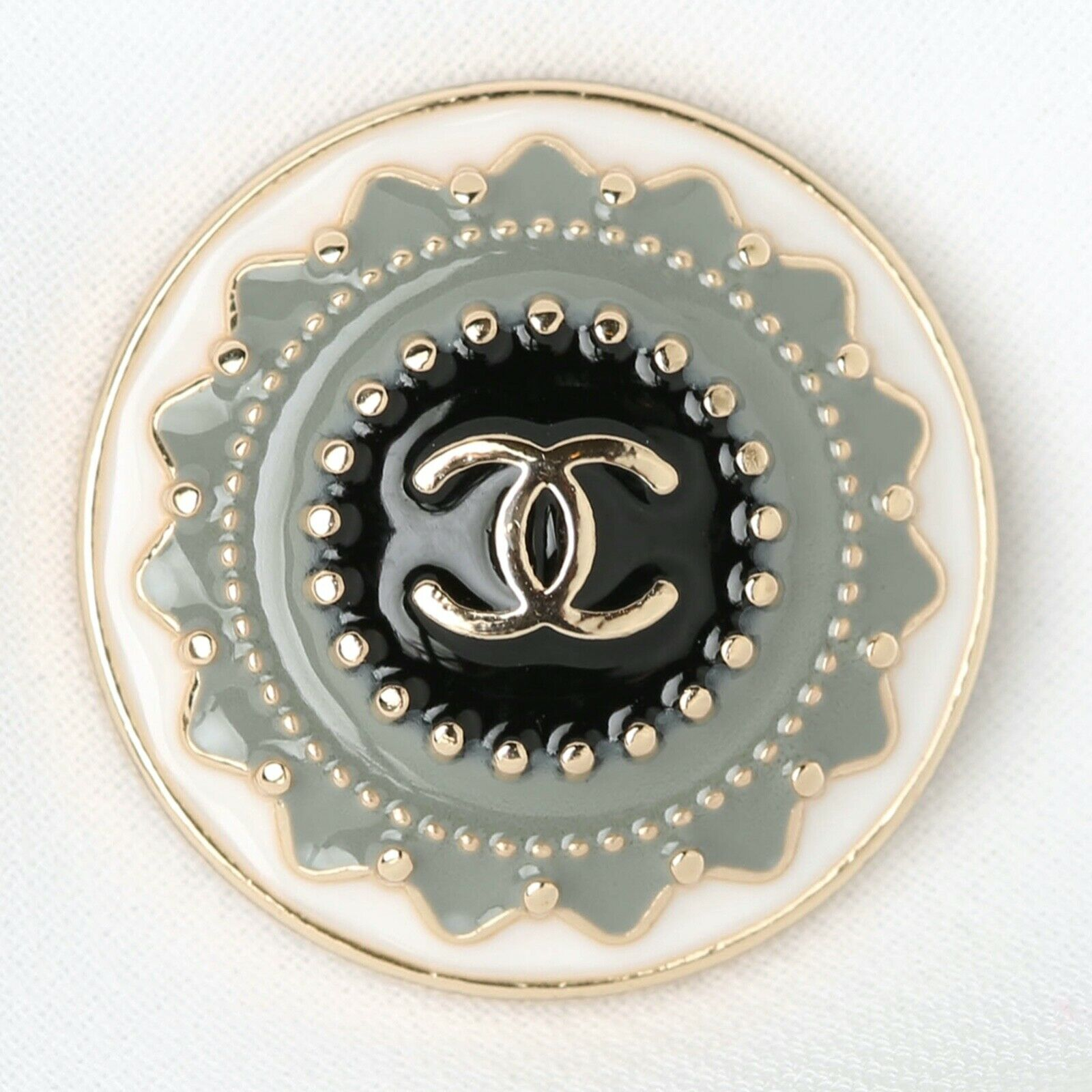 Chanel Button CC Grey Green 21 Mm Vintage Style Unstamped 1 Button - $9.99