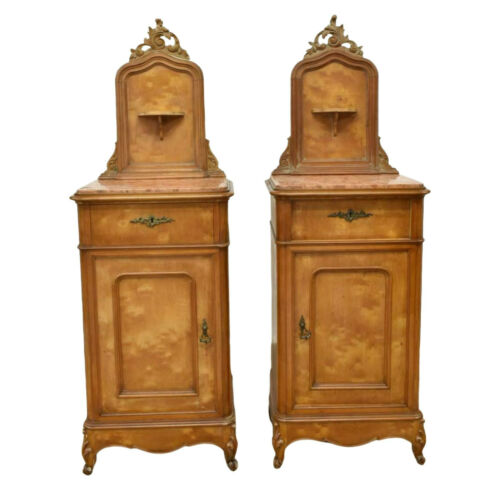 Bedside Cabinets, Antique  Louis XV Style  Marble Top, Pair, 1800s, Handsome!