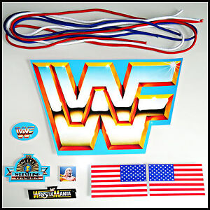 ♛ HASBRO MEGA SET | REPLACEMENT STICKERS + NEW RING ROPES WWF DECAL RINGSEILE ♛
