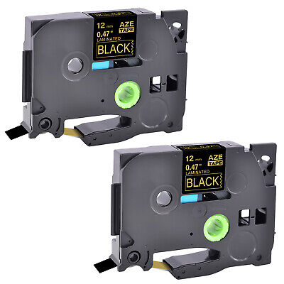 2pk Fits Brother P-touch Pt-1760 Tz-334 Tze-334 Gold On Black Label Tape 12mm
