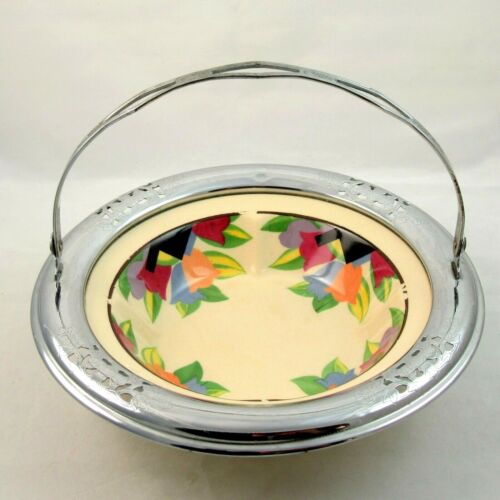 Art Deco Tulip Bowl Umbertone Leigh Potters Farberware Chrome Basket Frame