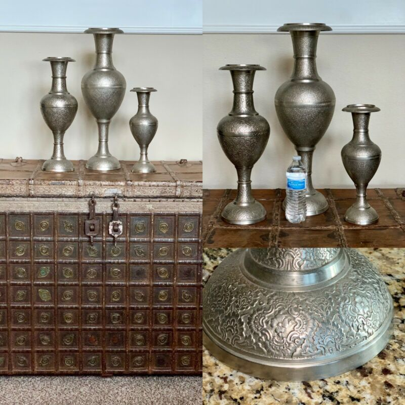 "Set of 3 Antique Persian Islamic Middle Eastern Silver Ornate Vases 24"" 19"" 14"""