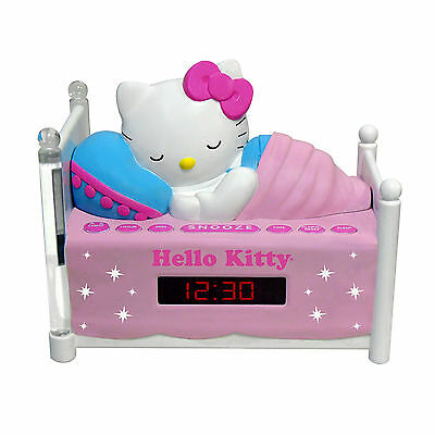 Hello Kitty GIRLS CHILDS Sleeping Kitty Alarm Clock AM FM Radio with Night Light